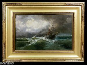 SCHOONER CAUGHT IN RAGING SEAS 19C INCREDIBLE SEASCAPE BY LISTED JAMES HAMILTON