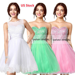 US Stock Short Mini Cocktail Party Homecoming Dress Bridesmaid Formal Prom Go