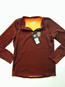Under Armour Boys Youth XL Coldgear Moisture 14 Zip Top Brown Size YXL NEW