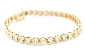 14K Yellow Gold Ladies Tennis Bracelet Women`s Fancy with Diamonds 5.25 Carat