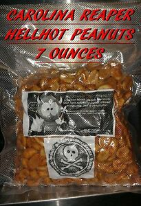 Carolina Reaper/ Moruga Scorpion/ Ghost Pepper PEANUTS~7 OUNCE OF INFERNO NUTS.