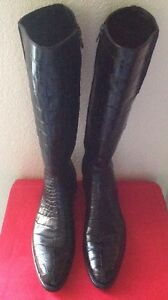SILVANO LATTANZI WOMANS €75000 BLACK 100%CROCODILE CUSTOM MADE LONG BOOTS SZ.41