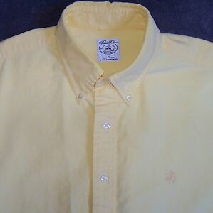 Brooks Brothers Sport Shirt Yellow Button Front Size Large L Cotton Long Sleeve