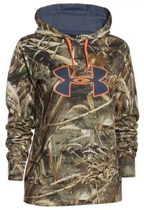 NEW $75 Under Armour Women's Camo Big Logo Hoodie Realtree Max-5 M 1265757-900