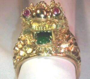 14kt  Dragon ring with jade tong and ruby eyes will keep  you wise