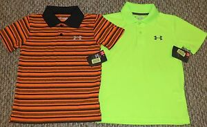 New! Lot of 2 Boys Under Armour Golf Polo Shirts (Black; Orange; Green) - Size 7