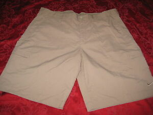 NIKE GOLF FIT DRY SHORTS BEIGE KHAKI SHORTS SIZE 36 BEIGE