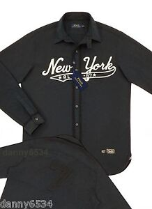 Men's Polo Ralph Lauren Brooklyn New York Black Oxford Baseball Shortstop Shirt