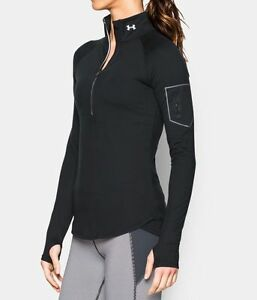 Under Armour Fly Fast 12 Zip Running Shirt Black Power In Pink Cancer Women's S