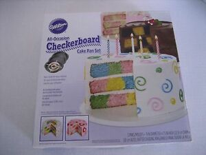 Wilton All Occasion Checkerboard Cake Pan Set Non Stick 3 PansDividing Ring NW