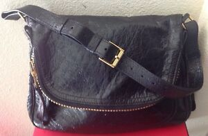 TOM FORD WOMANS $17500 JENIFER BLACK 100% OSTRICH LARGE BAG NWTAG XLGOLD ZIPPER