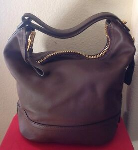 TOM FORD WOMANS $3890 BROWN 100% LEATHER HOBO BAG NWTAG GOLD ZIPPER