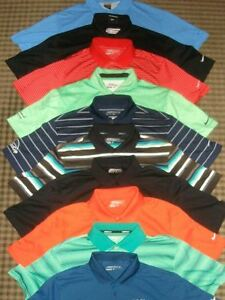 LOT 10 MIXED NIKE TOUR PERFORMANCE DRI-FIT FIT-DRY SS GOLF POLO SHIRTS SZ M