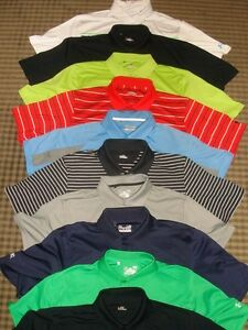 LOT 10 UNDER ARMOUR COLDBLACK HEAT GEAR MULTI COLOR SS GOLF POLO SHIRTS SZ L