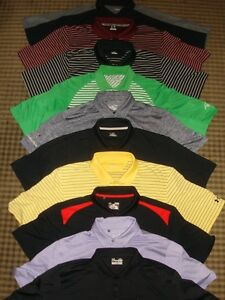 LOT 10 UNDER ARMOUR COLDBLACK HEAT GEAR MULTI COLOR SS GOLF POLO SHIRTS SZ XL