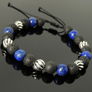 Men's Women Braided Bracelet Lava Rock Lapis Lazuli Sterling Silver Bead 1061