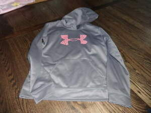 UNDER ARMOUR GIRLS GRAY PINK YLG LARGE HOODIE