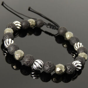 Men's Women Braided Bracelet Lava Rock Gold Pyrite Sterling Silver Bead 1062