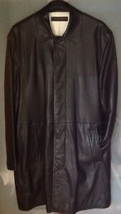 DONNA KARAN MENS $3500 BLACK 100% LEATHER OVERCOAT SZ.SMALL PRE OWNED USA 🇺🇸 $1200.00
