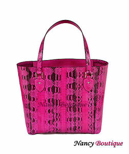 New Unique Pink Cobra Leather Large Woman Tote Shoulder Handbag Clearance Sale