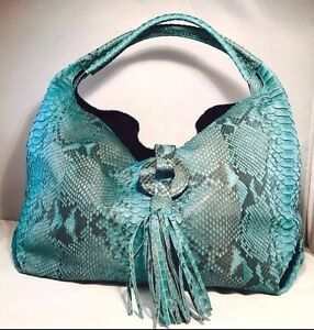CLEARANCE SALE Handmade Blue Python Snake Leather Women Designer Fashion Handbag