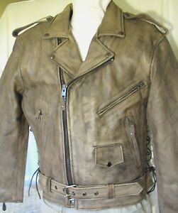 Mens Distressed Brown Leather Motorcycle Jacket w Gun Pockets Vented Sizes New
