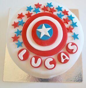 Captain America Shield Cake Toppers Edible Personalised Name Icing unofficial