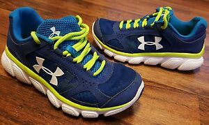 Boys Under Armour Blue Green Athletic Shoes •Youth Size 1 Y