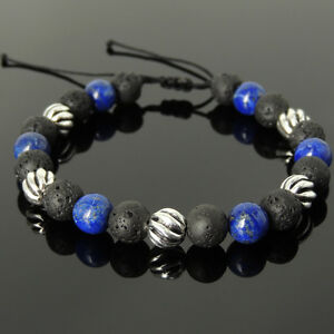 Men's Braided Bracelet 8mm Lava Rock Lapis Lazuli Sterling Silver Bead 1061M