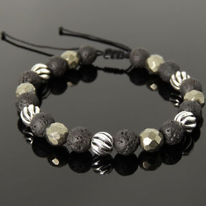 Men's Braided Bracelet 8mm Lava Rock Gold Pyrite Sterling Silver Bead 1062M