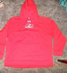 Mens Red Under Armour Baseball Hoodie Size 2XL Great Condition