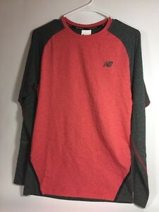 New Balance Long Sleeve Red and Gray Trinamic Dry Fit Shirt L NWT