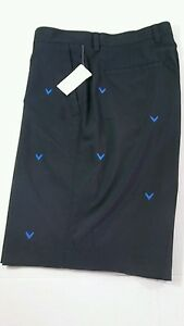 CALLAWAY GOLF SHORTS Mens Size 34 Black with Logo Inseam 10.5 Dress Casual