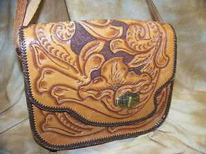 Vintage Tooled Leather Bag Rendezvous Mountain Man
