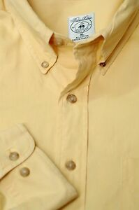 Brooks Brothers Men's Yellow Twill Cotton Sport Casual Shirt XL XLarge