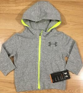 NEW!! Under Armour Full Zip Hoodie Baby Toddler Size 18 Months Gray Neon Yellow