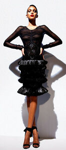Tom Ford Runway One-of-a-Kind Black Silk Dress Sequence Ostrich Straw Ruffles 40