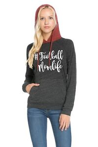 Brand New Women's Graphic # Football Mom Life Hooded Raglan Top Boutique Shirt