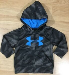 Under Armour Full Zip Hoodie Baby Toddler Size 6-9 Months Black Blue