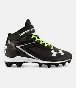 NEW Boys Under Armour Crusher RM JR 1258036-001 Football Cleats Shoes Black 3 Y