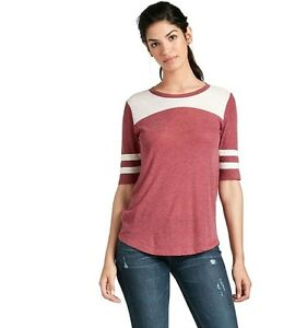 Lucky Brand - Womens L - NWT - Red Striped Elbow Sleeve Football TeeT-Shirt