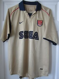 Nike 20002001 Arsenal Gold Third Away Soccer Jersey Football Shirt Sega Henry L