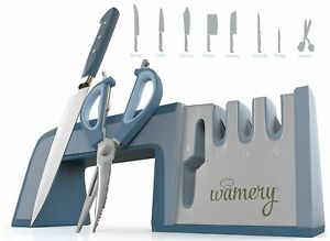 Wamery Knife Sharpener and Scissors Sharpening System. Easy to use. Safe Handle.