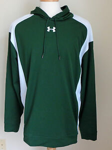 UNDER ARMOUR Mens Sz XL Long Sleeve Green and White Pull Over Hoodie Jacket NWOT