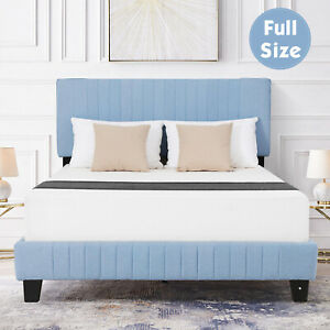 Queen Size Metal Bed Frame wood Slats Platform with Headboard Footboard Bedroom