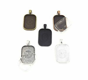 20X30mm rectangle pendant trays with glass Silver Bronze Copper