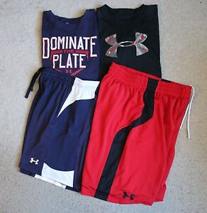 Lot 4 UNDER ARMOUR Boys Shirts Shorts Outfits Sets YLG LARGE