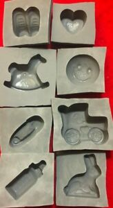 8 piece BABY Candy Cream Cheese Mint Grey Rubber Molds bear rocking horse bottle