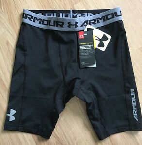 NEW!! Under Armour Shorts Youth Medium Fitted Black And Gray