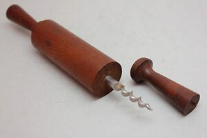 RARE Vintage 9'' STRAIGHT PULLS WOODEN ROLLING PIN CORKSCREW Denmark